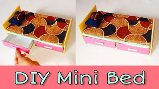 DIY Miniature Easy Bed | Making Bed For Barbie Doll