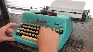 1956 Special Edition Teal Baby Blue Royal Quiet Deluxe Typewriter