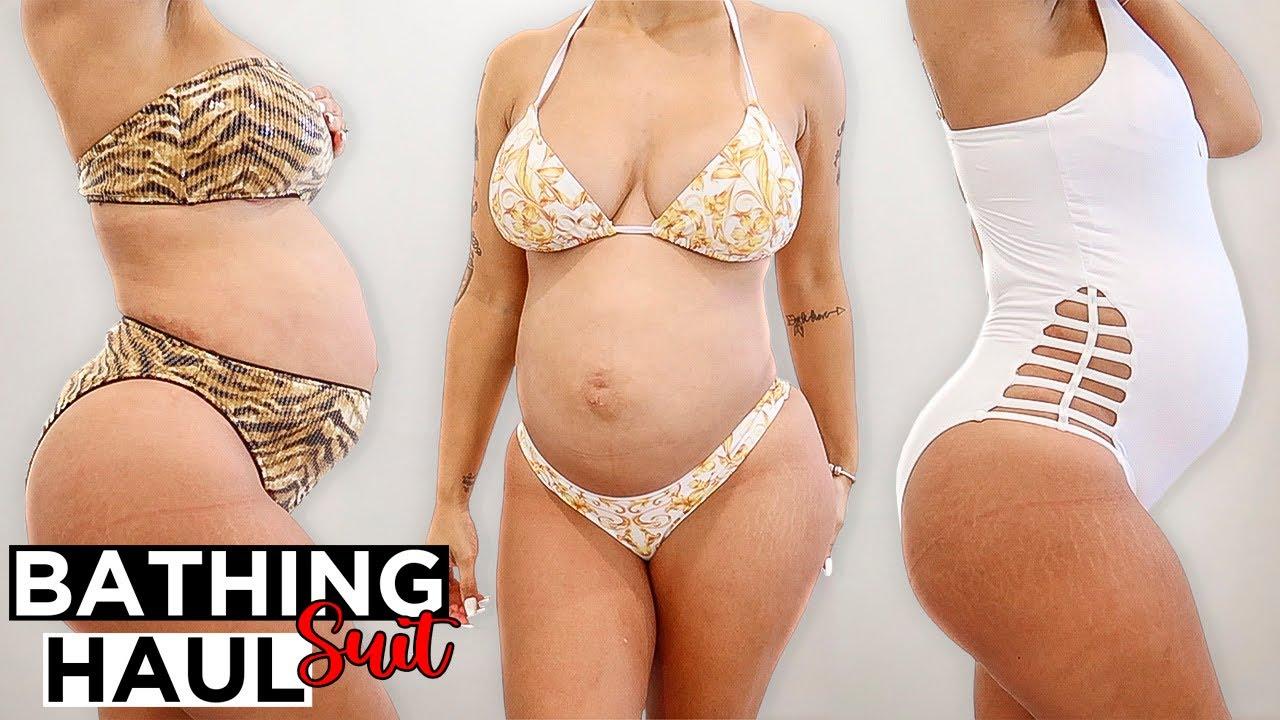 PREGNANCY BATHING SUIT TRY ON HAUL!!