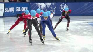 Samuel Girard /crashs/ Men`s 1500m semifinal #1 - ISU World Cup Short Track Speed Skating Montreal