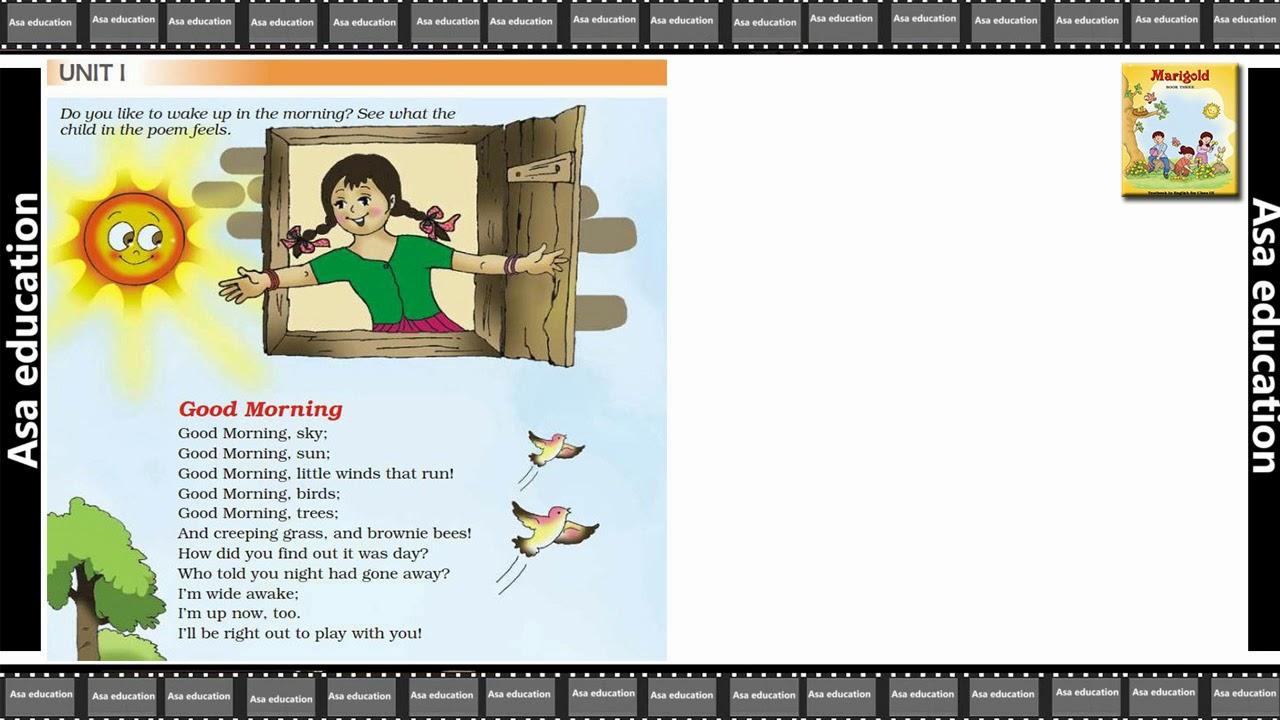 Poem 1 Good Morning (English - Marigold, Grade 3, CBSE) Poem in Easy  Hindi/English