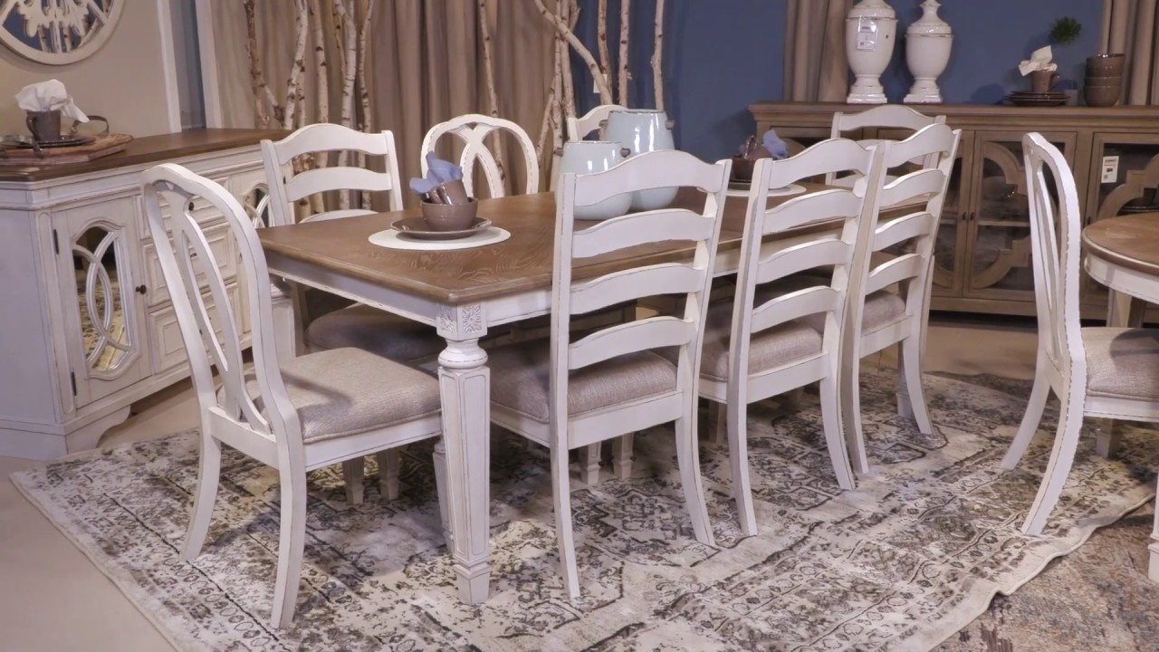 Realyn Chipped White Extendable Rectangular Dining Table From Signature Design By Ashley Youtube