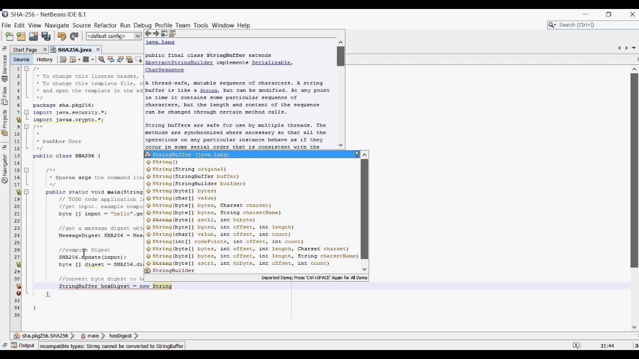 Compute digest using SHA256 Algorithm in java