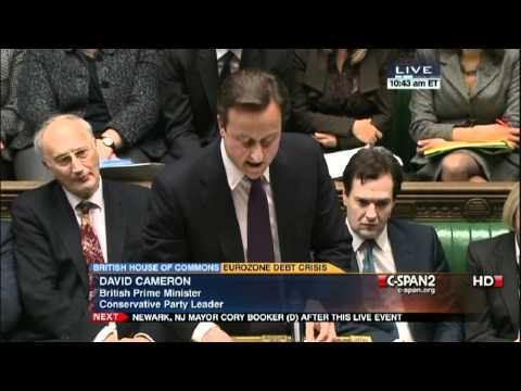 David Cameron Defends Rejection of Euro Zone Debt Crisis Treaty 12-12-11