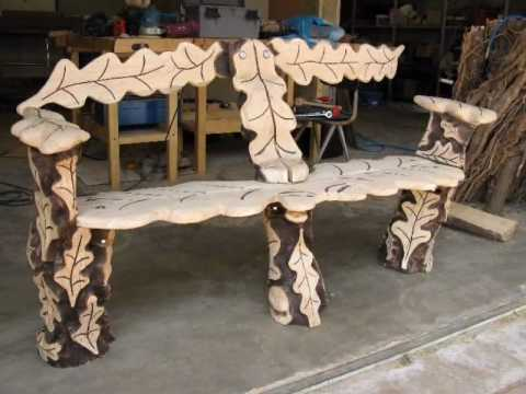 Chainsaw Carving   Oak Log Bench Woodworking Project   YouTube