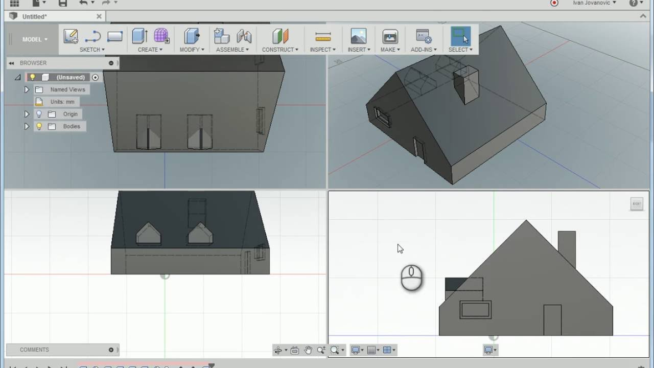 Modeling a simple house in autodesk fusion 360 youtube for Autodesk online home design