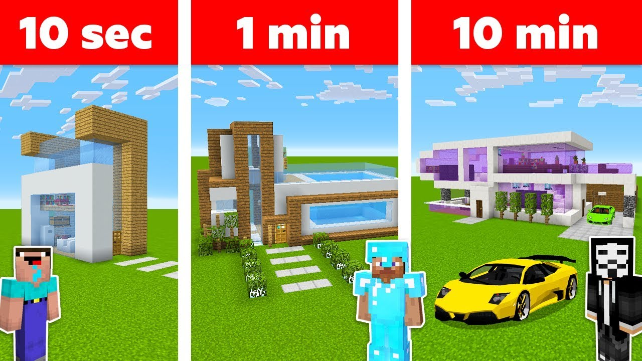 Download Minecraft MODERN HOUSE in 10 MIN, 1 MIN, 10 SECONDS CHALLENGE in Minecraft