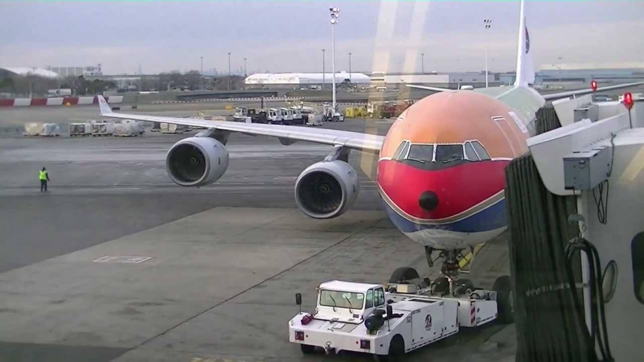 Push back china eastern a340 600 at new york jfk airport - China eastern airlines bangkok office ...