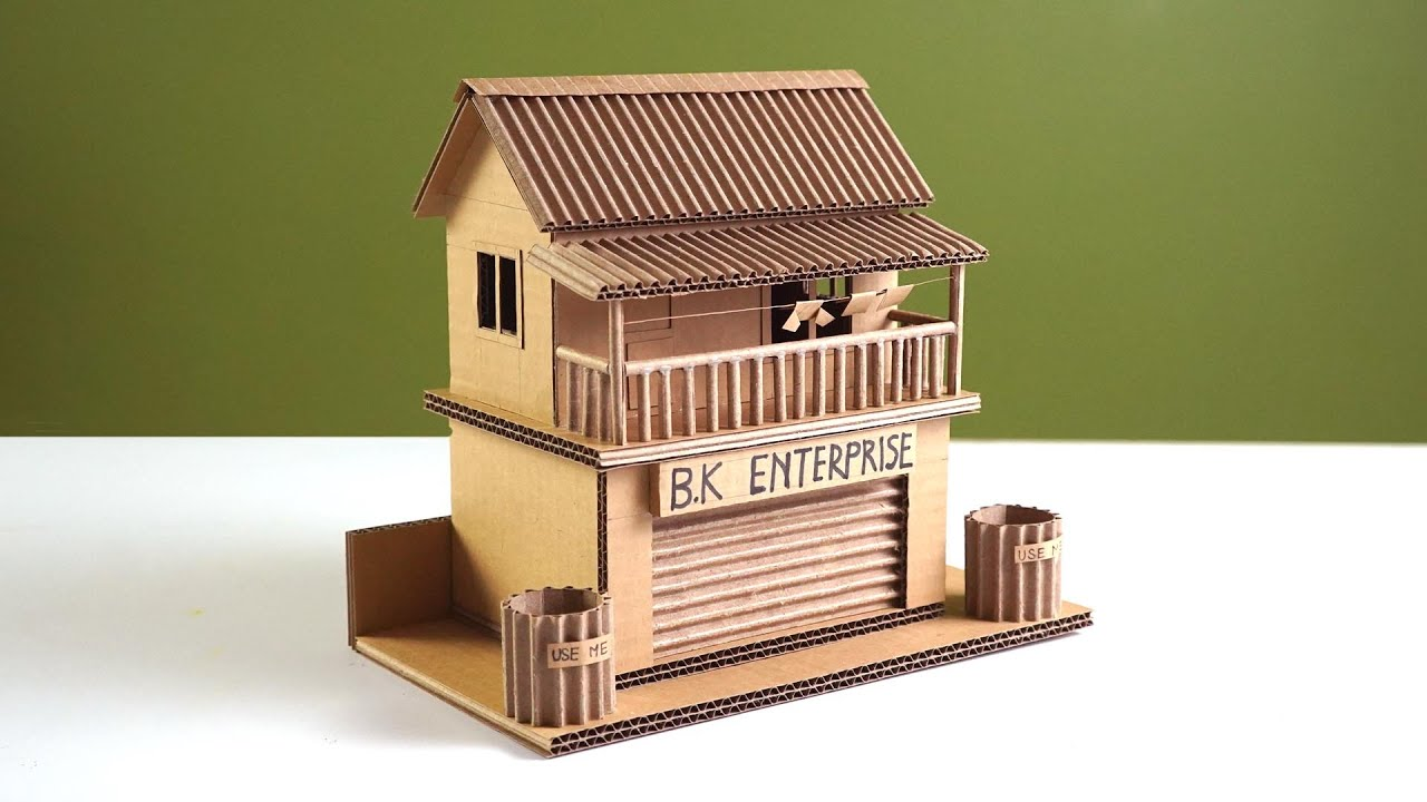 WOW ! Making a  small cardboard house attached with a  department store - simple DIY