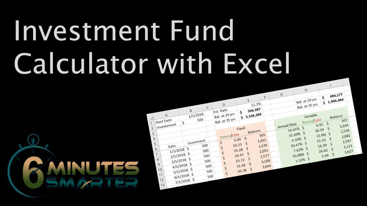 create an investment fund calculator with microsoft excel youtube