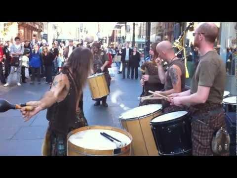 Clanadonia Drummers on Buchanan St. with Surprise Guest - Glasgow Scotland