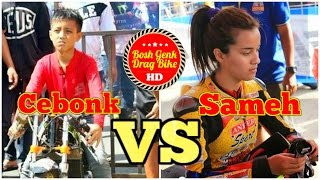 Drag Bike DUEL ALFAN CEBONK VS SABRINA SAMEH | Matic 200cc TU HD