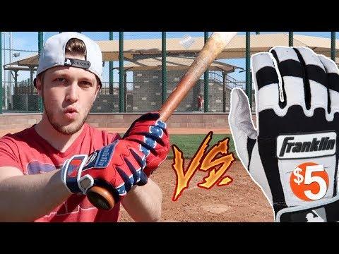 $5 Batting Gloves Vs $50 Batting Gloves! IRL Baseball Challenge