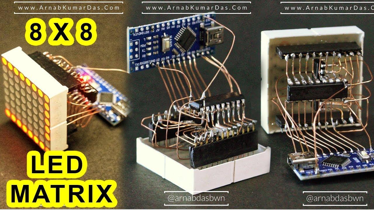 Arduino 8x8 LED Matrix FreeForm Circuit Design | ULN2803APG | 74HC595N