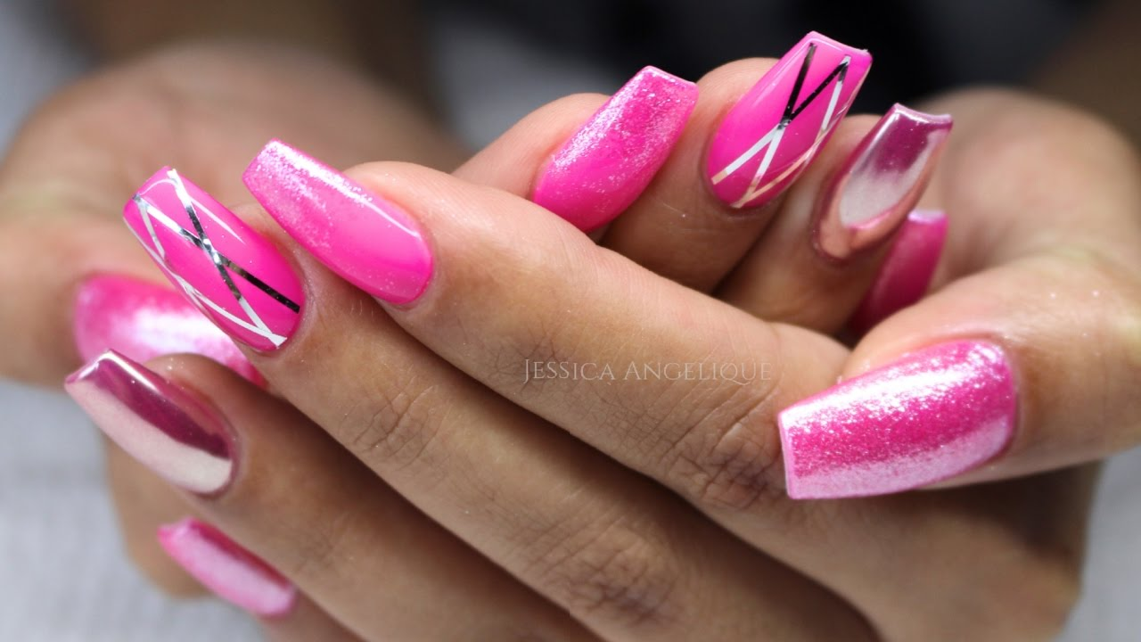 ♡ How to: Neon Pink Gelnails w stripes & pigments - YouTube
