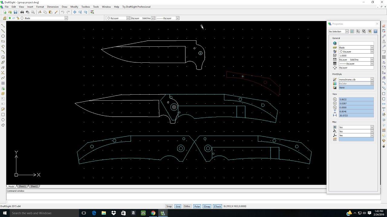 Designing A Frame Lock Knife On Draft Sight Full Tutorial