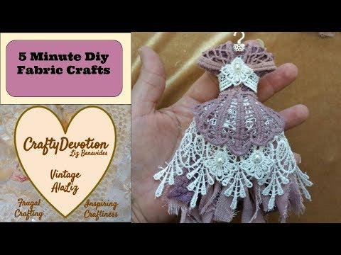 Vintage dress, 5 minute DIY Crafts, Miniature dress Christmas Ornaments, Shabby dress kit, how to