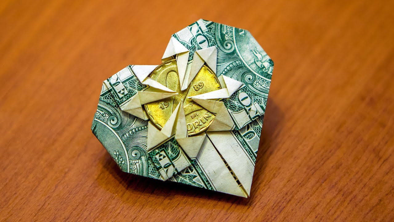 How To Fold An Origami Money Heart Tutorial Great Gift Idea Youtube