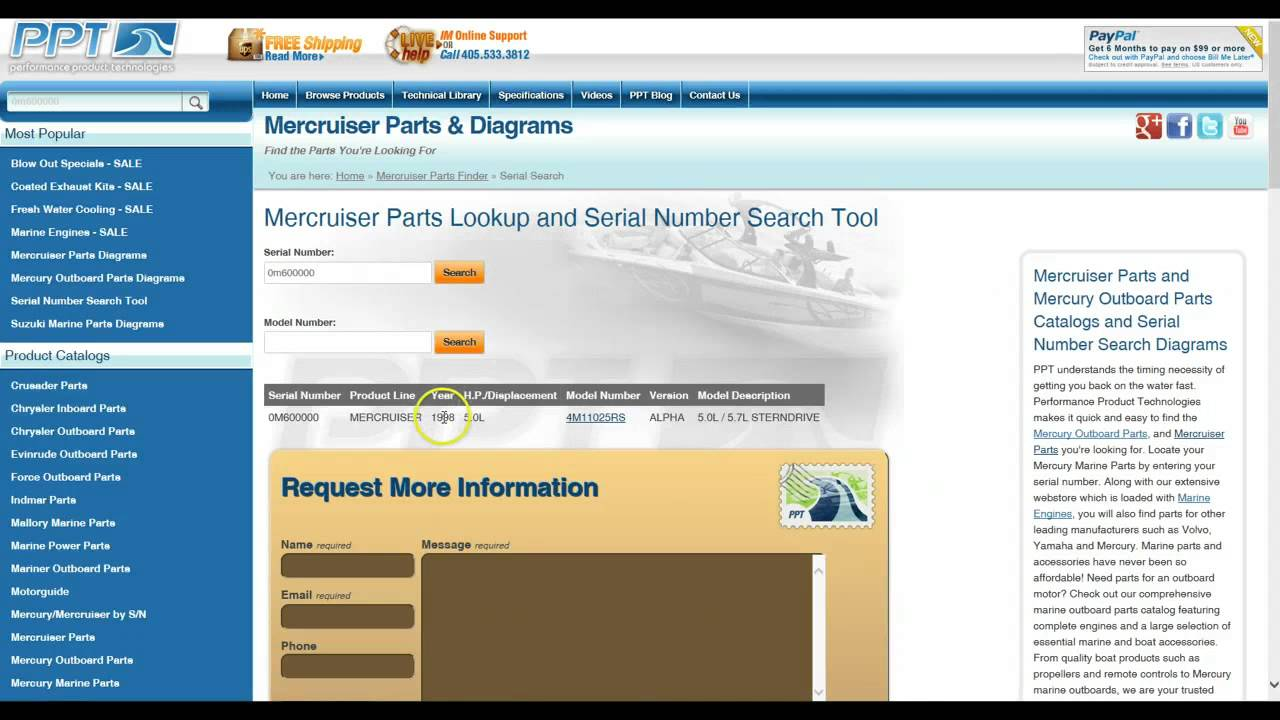 Mercruiser Parts Search & Lookup Using Your Serial Number