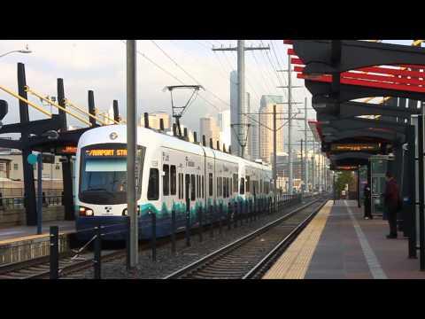 Link trains meet at SODO Station