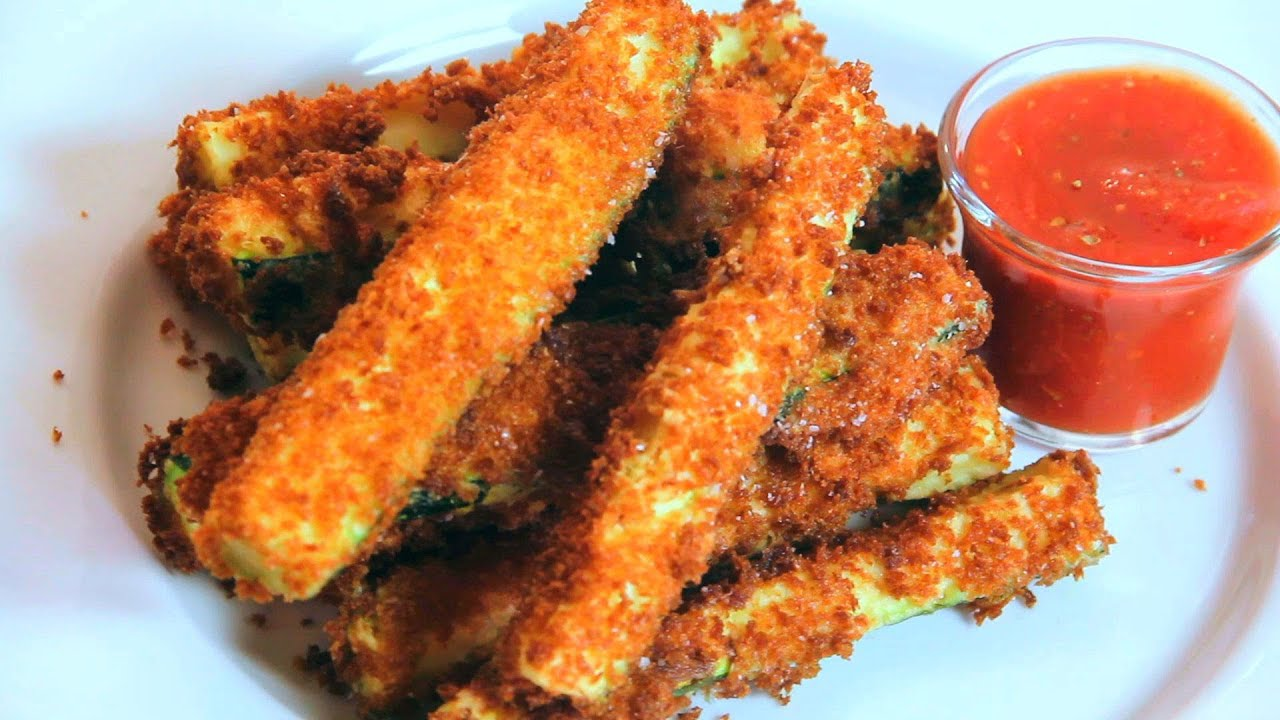 Fried Zucchini Sticks Recipe with Marinara Sauce - YouTube