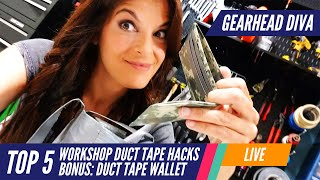 Top 5 Duct Tape Hacks + Wallet for the Workshop | Gearhead Diva