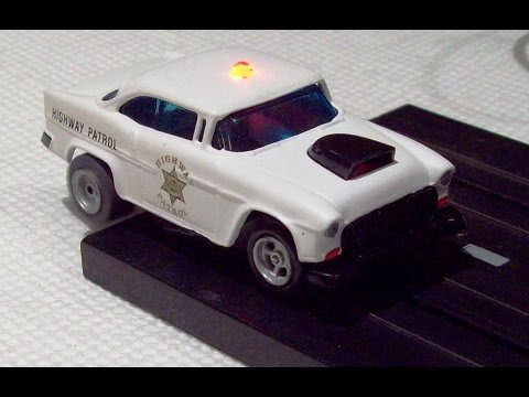 Custom Aurora AFX 'HO 55 Chevy Bel Air Police slot car with flashing LED