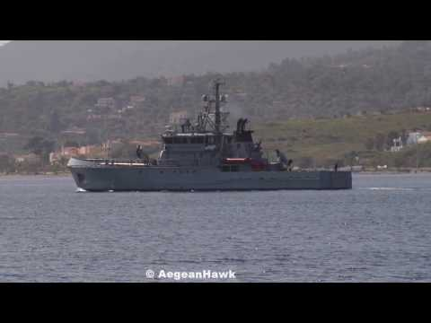UK Border Force Cutters Valiant & Protector in Aegean Sea with Frontex.
