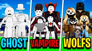 GHOST FAMILY vs VAMPIRE FAMILY vs WEREWOLF FAMILY in Roblox BROOKHAVEN RP!!