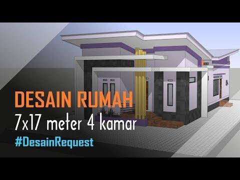 Contoh Denah Rumah Kampung  desain rumah minimalis modern 7x17 meter 4 kamar mushola