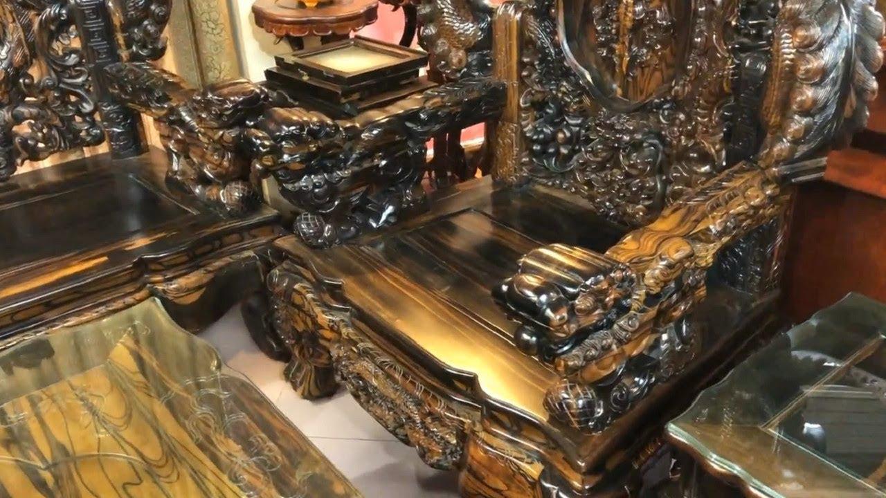 Chiêm ngưỡng bộ bàn ghế nghê đỉnh, gỗ mun 10 món đẳng cấp đại gia