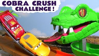 Disney Cars Toys McQueen Cars 3 Cobra Crush challenge with Hot Wheels Car and funny Funlings TT4U