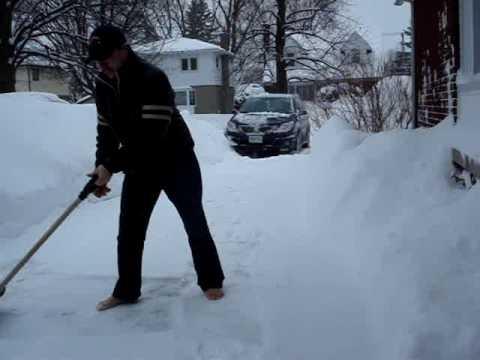 Barefoot Snow Shovelling