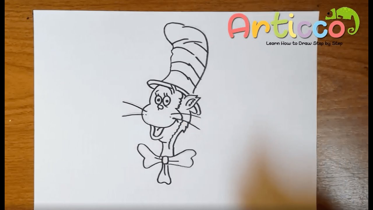 How To Draw The Cat In The Hat For Kids Youtube