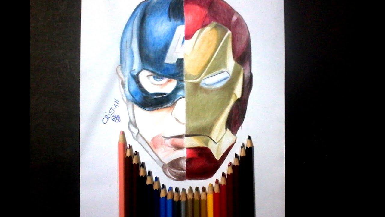 Dibujando a CAPITAN AMERICA / IRON MAN (Civil War) - Drawing CAPTAIN ...