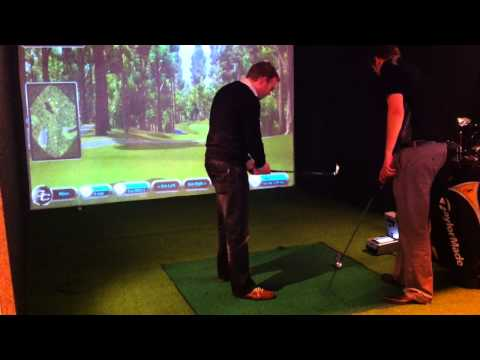 Charlie and Mat on the Golf Simulator