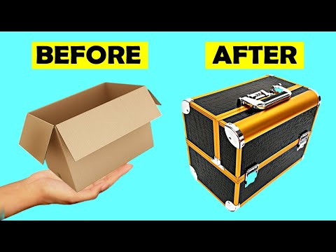 How to Make Makeup Place of Makeup From Cardboard, DIY Creative Ideas Box