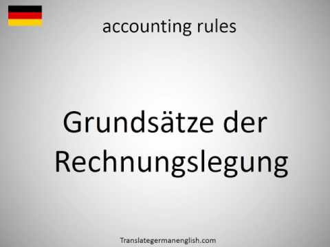 How to say accounting rules in German?