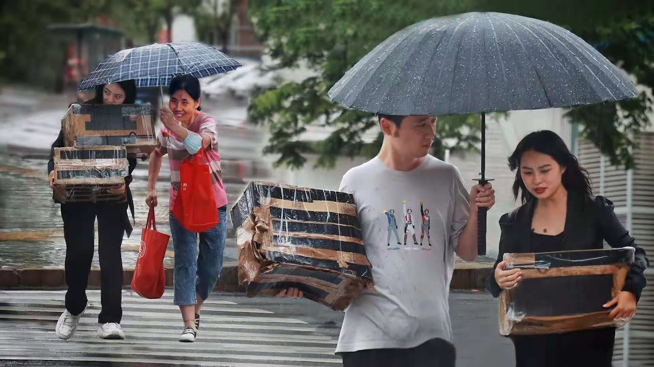 Girl Holding Packages in the Rain Without Umbrella | Social Experiment 看到女生抱着箱子走在雨中,有人主动走来为她撑伞(社会实验)