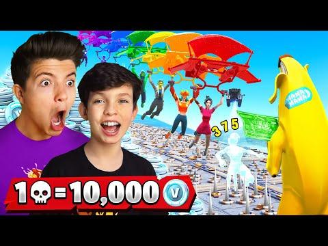1 Elimination = 10,000 VBucks w/ My 13 Year Old Little Brother - Challenge!