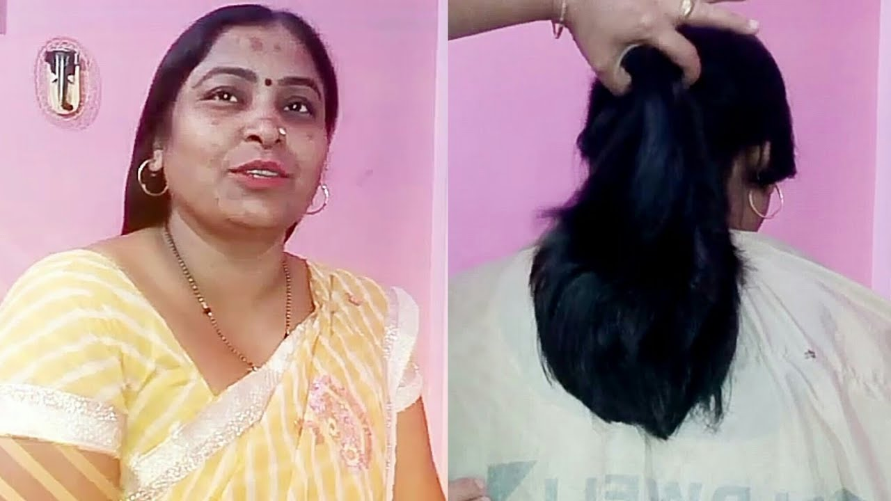 long to short steps hair cut of a simple indian lady hobbies of asha rai,bilaspur cg