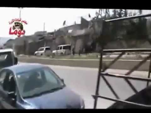 SYRIA -  UN Observer's Vehicles In Duma Attacked and Filmed By the thugs of FSA.