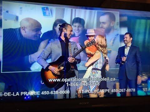 Touchante prestation d'Étienne Drapeau au téléthon (hommage à Mélanie Gagné)