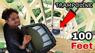 TV vs TRAMPOLINE From 100 Feet - Experiment
