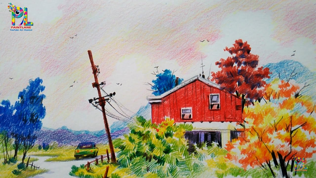 How to draw a sketch and colored a landscape for beginners with color pencils