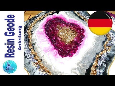 RESIN GEODE, GERMAN/DEUTSCH, Glitter und Pigmente, Acrylfarbe, Glas und Gold
