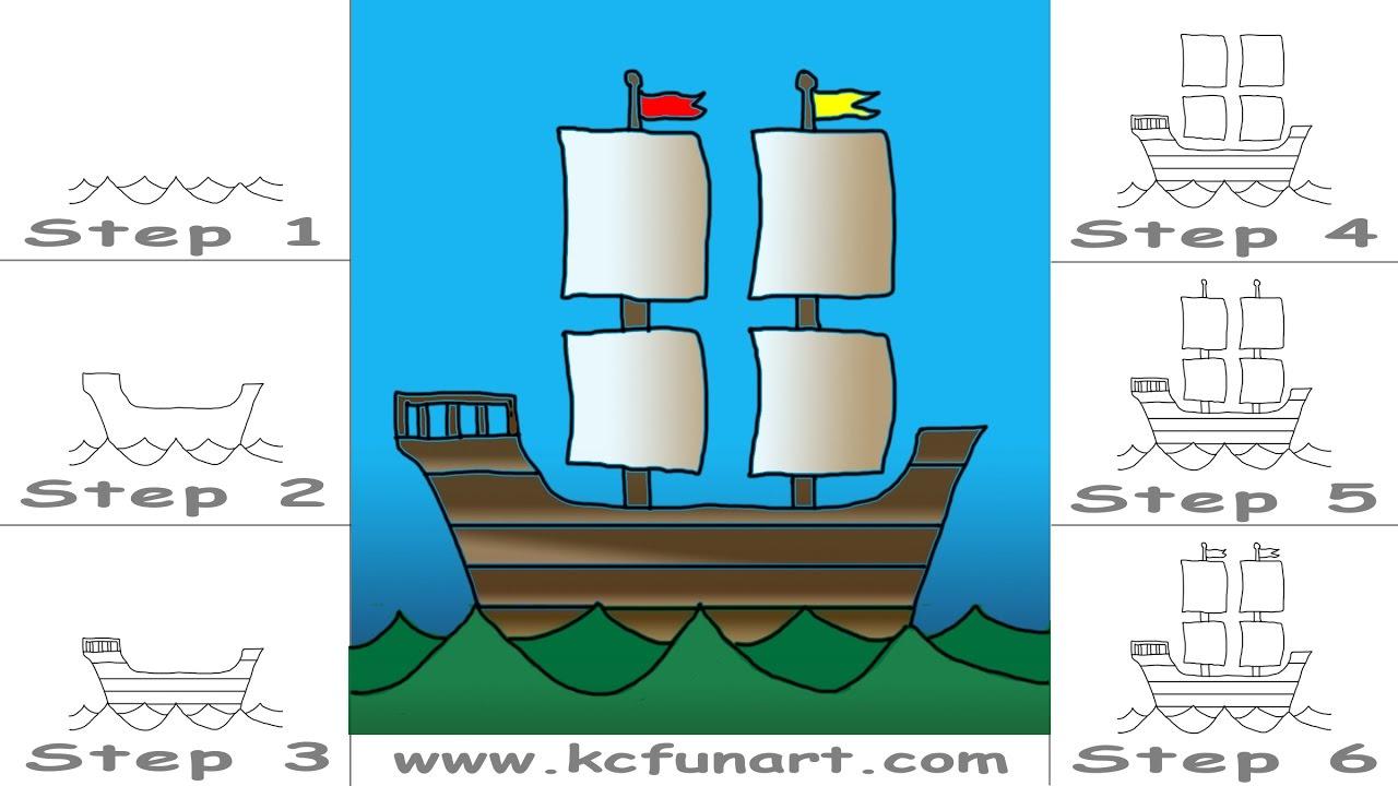 how to draw a cartoon ship