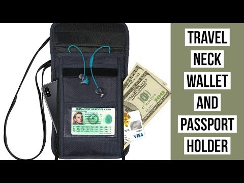 WAAO Travel Neck Pouch Neck Wallet Stash With RFID Blocking Passport Holder For Men And Women