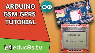 Arduino Tutorial: Connecting to the Internet using the GPRS service with a GSM shield a Nokia 5110 Video