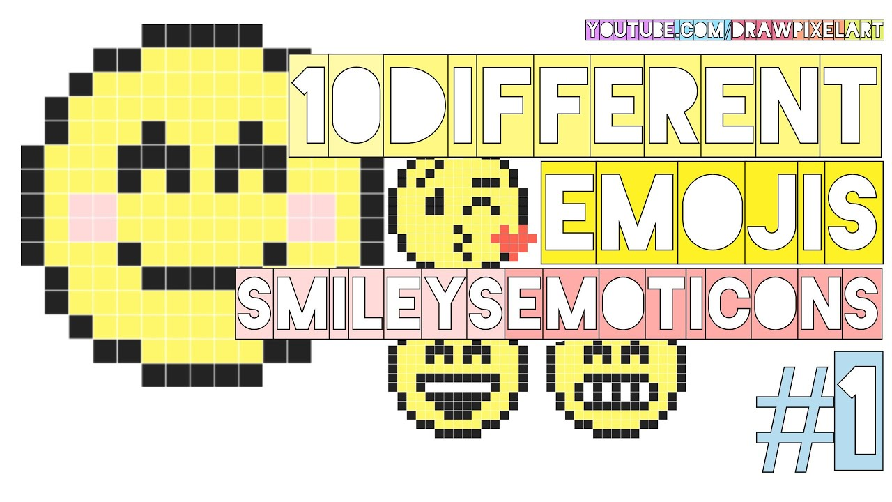 how to draw 10 different emojis 1 emoticons smileys chat doodle pixel art perler beads youtube